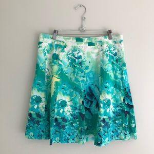 Cleo White Green Floral A-Line Skirt